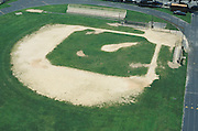 overhead view of empty baseball diamond