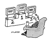 ( Man watching televisions placed first, second and third on an Olympic winners' podium)
