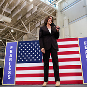 United States Senator and Presidential candidate Sen. Kamala Harris speaks to a crowd of supportrers holding her first campaign organizing event in Los Angeles on May 19 at Los Angeles Southwest College.