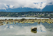Historic Haines, Alaska from a tidepool view in late summer.