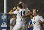 England's George Perkins (Saracens) celebrates his try during the Under 20s Six Nations Championship match between England and France at the American Express Community Stadium, Brighton and Hove, England on 20 March 2015. Photo by Phil Duncan.