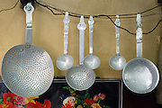 India, Manali, Kullu District, Himachal Pradesh, Northern India, crude, tin kitchen utensils in a local restaurant