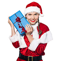 one woman dressed as santa claus holding christmas presents gifts on studio isolated white background