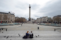 © Licensed to London News Pictures. 17/03/2020. London, UK. Trafalgar Square empty of visitors as the Coronavirus outbreak spreads in London. Photo credit: Ray Tang/LNP