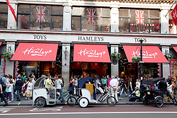 22 April 2011. London, England..Union jack flags abound in the run up to the Royal wedding in Hamley's toy store, perhaps the most famous toy shop in the world. The shop is packed with tourists on London's Regent Street in the heart of London's West End. .Photo; Charlie Varley.
