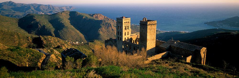 SPAIN, CATALONIA, COSTA BRAVA San Pedro de Roda; a Benedictine Monastery, built in the 8th century, near Cadaques, north of Barcelona