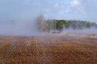 "Mist rising from ""sweating"" farm field in the spring, near Goderich, Ontario, Canada."
