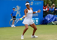 Heather Watson (GBR) in action during her match against Alison Riske (USA). The Aegon Open Nottingham 2017, international tennis tournament at the Nottingham tennis centre in Nottingham, Notts , day 2 on Tuesday 13th June 2017.<br /> pic by Bradley Collyer, Andrew Orchard sports photography.