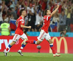 SOCHI, July 7, 2018  Denis Cheryshev (R) of Russia celebrates scoring during the 2018 FIFA World Cup quarter-final match between Russia and Croatia in Sochi, Russia, July 7, 2018. (Credit Image: © Xu Zijian/Xinhua via ZUMA Wire)