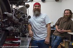 Robert Hernandez' at his Rabbit Hole Vintage HD Works in Phoenix during Arizona Bike Week. USA. April 6, 2014.  Photography ©2014 Michael Lichter.