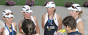 Poznan, POLAND,  GBR LW4X, Gold Medalist,  left to right, Sophie HOSKING, Andrea DENNIS, Jane HALL and  Laura GREENHALGH, being interviewed after the presentation,  at the 2008 FISA World Cup. Rowing Regatta. Malta Rowing Course on Saturday, 21/06/2008. [Mandatory Credit:  Peter SPURRIER / Intersport Images] Rowing Course:Malta Rowing Course, Poznan, POLAND