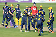 Hampshire celebrate the wicket of Ryan ten Doeschate   during the Royal London One Day Cup match between Hampshire County Cricket Club and Essex County Cricket Club at the Ageas Bowl, Southampton, United Kingdom on 5 June 2016. Photo by David Vokes.