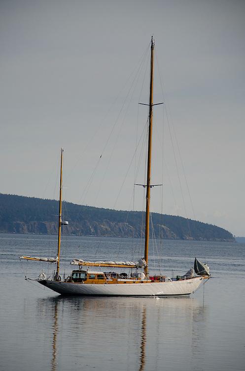 Orion at Anchor Off Jones Island, San Juan Islands, Washington, US