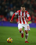 Kostas Stafylidis of Stoke City in action. Premier league match, Stoke City v Manchester City at the Bet365 Stadium in Stoke on Trent, Staffs on Monday 12th March 2018.<br /> pic by Andrew Orchard, Andrew Orchard sports photography.