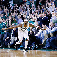 18 January 2013: Boston Celtics shooting guard Jason Terry (4) celebrates during the Chicago Bulls 100-99 overtime victory over the Boston Celtics at the TD Garden, Boston, Massachusetts, USA.