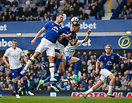 Demarai Gray of Leicester City in action with Phil Jagielka of Everton during the English Premier League match at Goodison Park Stadium, Liverpool. Picture date: April 9th 2017. Pic credit should read: Simon Bellis/Sportimage