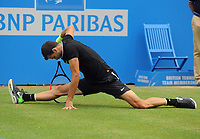 Tennis - 2017 Aegon Championships [Queen's Club Championship] - Day Six, Saturday<br /> <br /> Men's Singles, Semi Finals<br /> Grigor Dimitrov [Bul] vs. Feliciano Lopez [Esp]<br /> <br /> Grigor Dimitrov slips on the grass and does the splits on Centre Court <br /> <br /> COLORSPORT/ANDREW COWIE