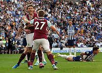 Football - 2019 / 2020 Premier League - Brighton & Hove Athletic vs. Burnley<br /> <br /> Jeff Kendrick of Burnley celebrates scoring their late equaliser with Matej Vydra at The Amex.<br /> <br /> COLORSPORT/ANDREW COWIE