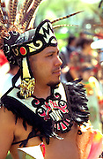 Aztec ceremonial dress age 28. In the Heart of the Beast May Day Festival and Parade Minneapolis Minnesota USA