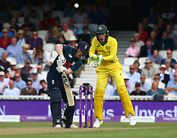 June 13, 2018 - London, England, United Kingdom - England's Eoin Morgan  and Tim Paine of Australia.during One Day International Series match between England and Australia at Kia Oval Ground, London, England on 13 June 2018. (Credit Image: © Kieran Galvin/NurPhoto via ZUMA Press)