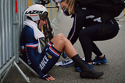 Juliette Labous (FRA) recovers after the 2020 UEC Road European Championships - Elite Women ITT, a 25.6 km individual time trial in Plouay, France on August 24, 2020. Photo by Sean Robinson/velofocus.com