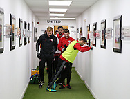 Billy Sharp of Sheffield Utd stretches as the team prepare to warm up during the English League One match at Bramall Lane Stadium, Sheffield. Picture date: December 26th, 2016. Pic Simon Bellis/Sportimage