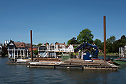 Henley on Thames. United Kingdom.   Piling Equipment moored with the box frames on deck. <br /> Thursday  17/05/2018<br /> <br /> [Mandatory Credit: Peter SPURRIER:Intersport Images]<br /> <br /> LEICA CAMERA AG  LEICA Q (Typ 116)  f5  1/1000sec  35mm  42.5MB