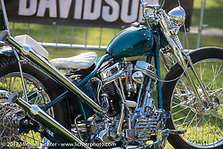 Todd Asin's Small City Cycles 1951 Harley-Davidson Panhead at the Born Free 9 Motorcycle Show. Costa Mesa, CA. USA. Friday June 23, 2017. Photography ©2017 Michael Lichter.