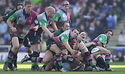Twickenham, Surrey, 16th March 2003, Zurich Premiership Rugby, The Stoop Memorial Ground, England, [Mandatory Credit; Peter Spurrier/Intersport Images]<br /> 16/03/2003<br /> Sport - Rugby  Zurich Premiership <br /> London Irish v Harlequins<br /> Quins Billy Fulton clears the ball from the back of the scrum