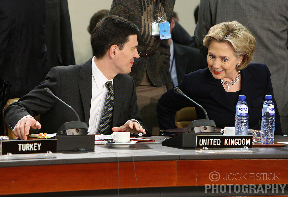 Hillary Clinton, U.S. secretary of state, right, speaks with David Miliband, the UK's foreign minister, at NATO headquarters in Brussels, Thursday, March 5, 2009. (Photo © Jock Fistick)