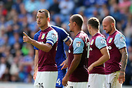 John Terry, the Aston Villa captain (l)  looks on. EFL Skybet championship match, Cardiff city v Aston Villa at the Cardiff City Stadium in Cardiff, South Wales on Saturday 12th August 2017.<br /> pic by Andrew Orchard, Andrew Orchard sports photography.