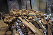 Israel, Jerusalem, Old City, Pile of wooden crosses for sale to pilgrims
