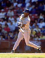 MILWAUKEE - 1990:  Ken Griffey Jr. of the Seattle Mariners bats during an MLB game against the Milwaukee Brewers at County Stadium in Milwaukee, Wisconsin during the 1990 season. (Photo by Ron Vesely)   Subject: Ken Griffey Jr.