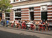 People sitting outside Zondag street cafe for breakfast, Maastricht, Limburg province, Netherlands