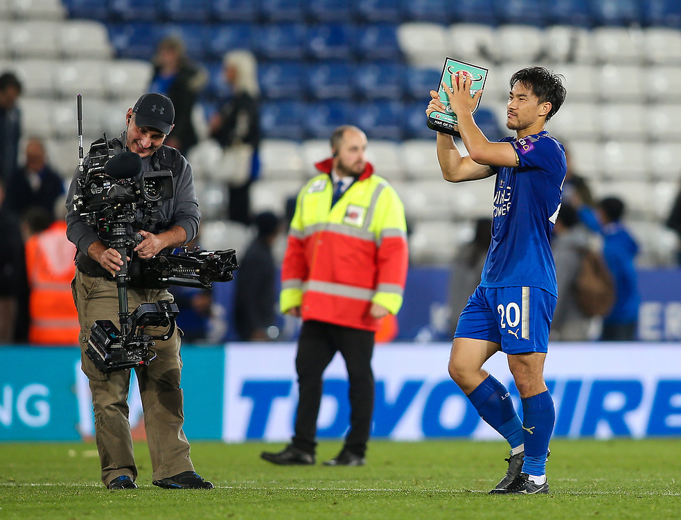 Leicester City's Shinji Okazaki<br /> <br /> Photographer Andrew Kearns/CameraSport<br /> <br /> The Carabao Cup Third Round - Leicester City v Liverpool - Tuesday 19th September 2017 - King Power Stadium - Leicester<br />  <br /> World Copyright © 2017 CameraSport. All rights reserved. 43 Linden Ave. Countesthorpe. Leicester. England. LE8 5PG - Tel: +44 (0) 116 277 4147 - admin@camerasport.com - www.camerasport.com
