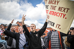 July 29, 2017 - Rochdale, Manchester, United Kingdom - Far-right English Defence League (EDL) demonstration, as they are opposed by protesting anti-fascists, including Unite Against Fascism (UAF) . The EDL say they are demonstrating against the sexual grooming and abuse of English girls by Muslim men in Rochdale and against terrorism across the UK.  (Credit Image: © Joel Goodman/London News Pictures via ZUMA Wire)