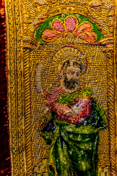 500 year old vestment sewn with silver and gold thread, Iglesia Mayor de Santa María de la Encarnación de Alhama de Granada,  Alhama de Granada, Granada Province, Andalusia, Spain.