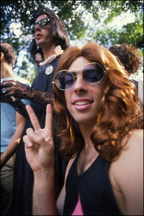 David Gips and David Robinson at Wigstock, an annual outdoor drag festival that began in the 1980s in  Tompkins Square Park in the East Village of New York City that took place on Labor Day.