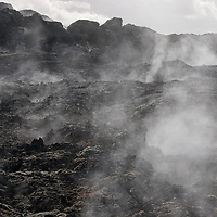 Steam around Krafla. The volcanic system of Krafla includes also a dangerous and still active volcano called Leirhnjúkur which was formed in 1727.