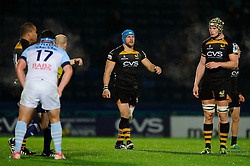 Wasps replacement (#20) James Haskell  comes on back from injury off the bench during the second half of the match - Photo mandatory by-line: Rogan Thomson/JMP - Tel: 07966 386802 - 17/10/2013 - SPORT - RUGBY UNION - Adams Park Stadium, High Wycombe - London Wasps v Bayonne - Amlin Challenge Cup Round 2.