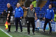 Cardiff City manager Neil Warnock (c) urges his players forward towards  the end of the game. EFL Skybet championship match, Cardiff city v Wigan Athletic at the Cardiff city stadium in Cardiff, South Wales on Saturday 29th October 2016.<br /> pic by Carl Robertson, Andrew Orchard sports photography.