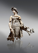 Roman statue of a Dancing Woman . Marble. Perge. 2nd century AD. Inv no 10.29.81 . Antalya Archaeology Museum; Turkey. .<br /> <br /> If you prefer to buy from our ALAMY STOCK LIBRARY page at https://www.alamy.com/portfolio/paul-williams-funkystock/greco-roman-sculptures.html . Type -    Antalya     - into LOWER SEARCH WITHIN GALLERY box - Refine search by adding a subject, place, background colour, museum etc.<br /> <br /> Visit our ROMAN WORLD PHOTO COLLECTIONS for more photos to download or buy as wall art prints https://funkystock.photoshelter.com/gallery-collection/The-Romans-Art-Artefacts-Antiquities-Historic-Sites-Pictures-Images/C0000r2uLJJo9_s0