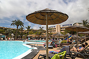 Barcelo Lanzarote hotel sign and swimming pool, Lanzarote, Canary islands, Spain