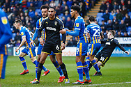 Wimbledon defender Terell Thomas (6) in action  during the EFL Sky Bet League 1 match between Shrewsbury Town and AFC Wimbledon at Greenhous Meadow, Shrewsbury, England on 2 March 2019.