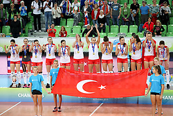 Players of Turkey at medal ceremony after the volleyball match between National team of Turkey and Slovenia in Gold Medal game of Womens U23 World Championship 2017, on September 17, 2017 in SRC Stozice, Ljubljana, Slovenia. Photo by Morgan Kristan / Sportida