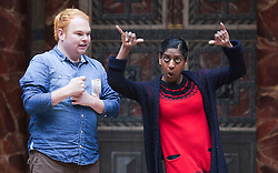 © Licensed to London News Pictures. 23/04/2012. London, England. Representatives of Deafinitely Theatre Company perform a British Sign Language version of Love's Labours Lost. The Globe to Globe Season begins at the Shakespeare's Globe Theatre with where 37 Shakespeare plays will be performed in 37 different languages.  Photo credit: Bettina Strenske/LNP