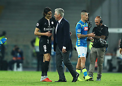 November 6, 2018 - Naples, Italy - SSC Napoli - Paris Saint-Germain : UEFA Champions League Group C .Edinson Cavani of Paris Saint-Germain and Napoli trainer Carlo Ancellotti at the end of the match at San Paolo Stadium in Naples, Italy on November 6, 2018. (Credit Image: © Matteo Ciambelli/NurPhoto via ZUMA Press)