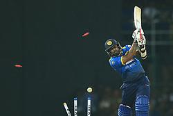 April 6, 2017 - Colombo, Sri Lanka - Sri Lanka's Lasith Malinga is bowled out during the 2nd and final T-20 International cricket match between Sri Lanka and Bangladesh at R Premadasa Stadium, Colombo, Sri Lanka, Thursday 6 April 2017  (Credit Image: © Tharaka Basnayaka/NurPhoto via ZUMA Press)