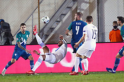 Vangelis Pavlidis of Greece vs Benjamin Verbic of Slovenia and Miha Blazic of Slovenia during football match between National teams of Greece and Slovenia in Final tournament of Group Stage of UEFA Nations League 2020, on November 18, 2020 in Georgios Kamaras Stadium, Athens, Greece. Photo by MATTHAIOS YORGOS / INTIME SPORTS / SPORTIDA