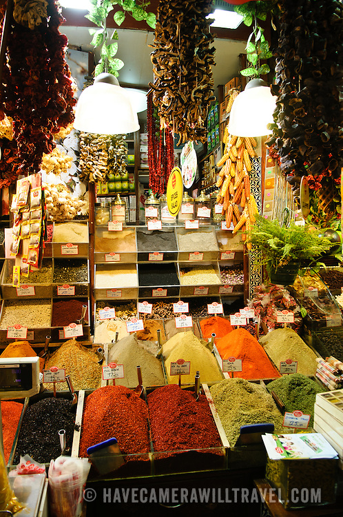 Spices and herbs on display in the Spice Bazaar (also known as the Egyption Bazaar) in Istanbul, Turkey.